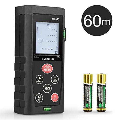 60m Laser Entfernungsmesser, Eventek 60m Distanzmessgerät mit LCD Hintergrundbeleuchtung 2 Level Blasen Messung Distanz/Fläche/ Volumen/Pythagoreische Distanzmesser Batterien enthalten