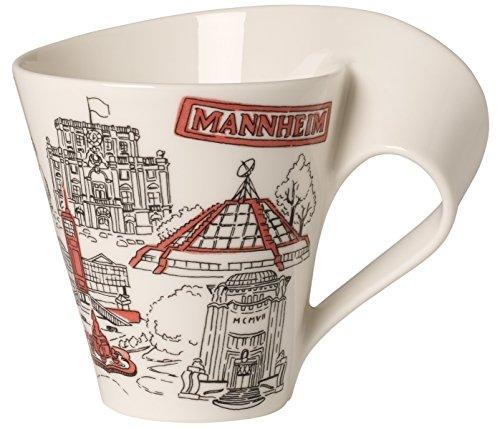 Villeroy & Boch Cities of the World Kaffeebecher Mannheim, 300 ml, Premium Porzellan, Weiß/Bunt