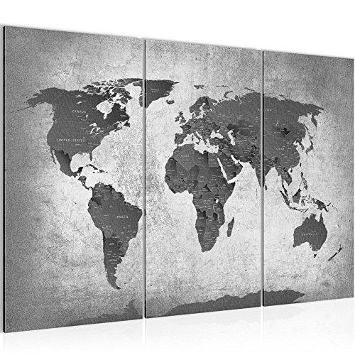 Bilder Weltkarte World map Wandbild 120 x 80 cm Vlies - Leinwand Bild XXL Format Wandbilder Wohnzimmer Wohnung Deko Kunstdrucke Grau 3 Teilig - Made IN Germany - Fertig zum Aufhängen 107631c
